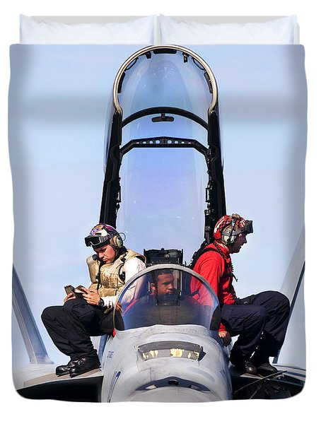 Airmen Perform A Weapons Release Check Duvet Cover by Stocktrek Images