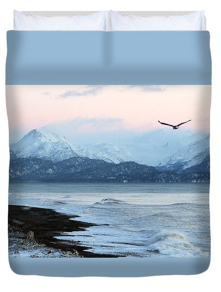 Duvet Cover featuring the photograph Alaskan Beach At Sunset by Michele Cornelius