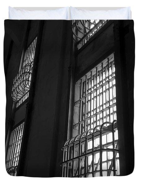 Alcatraz Federal Penitentiary Cell House Barred Windows Duvet Cover by Daniel Hagerman