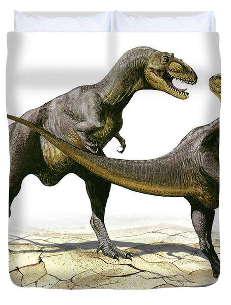 Alectrosaurus Olseni, A Prehistoric Duvet Cover by Sergey Krasovskiy