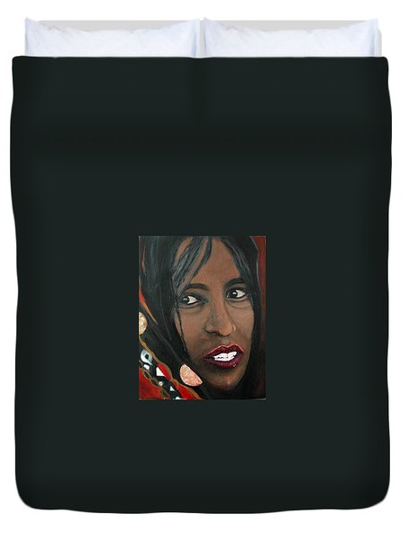 Duvet Cover featuring the painting Alem E. W. by Anna Ruzsan