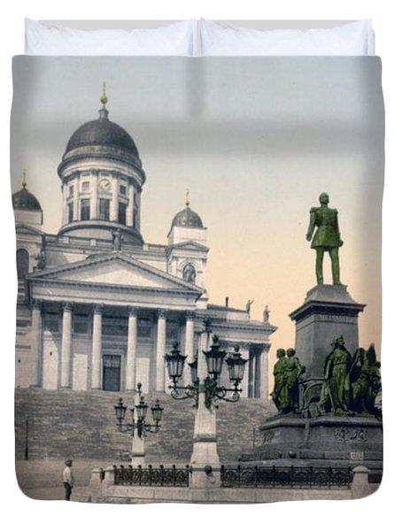 Alexander II Memorial At Senate Square In Helsinki Finland Duvet Cover by International  Images