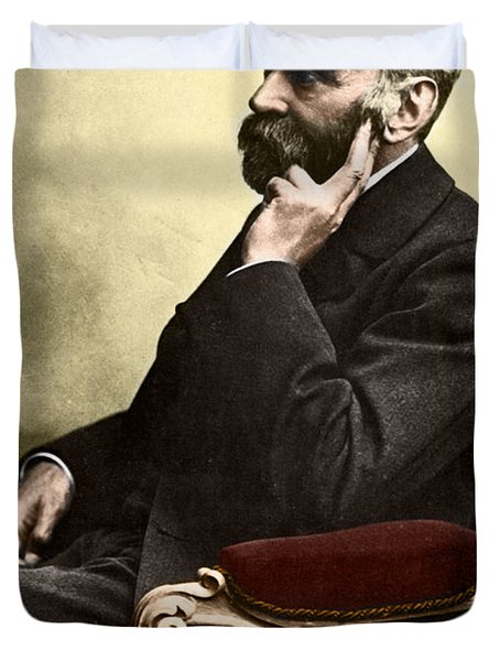 Alfred Nobel, Swedish Chemist Duvet Cover by Science Source