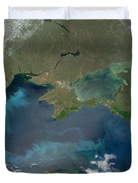 Algal Blooms In The Black Sea Duvet Cover by NASA / Science Source
