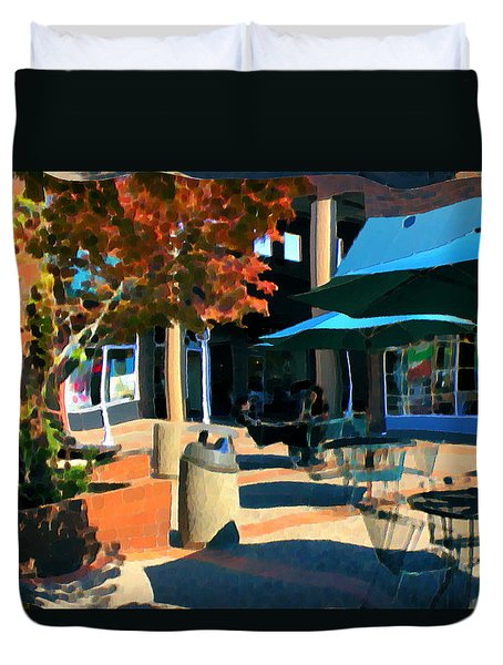 Duvet Cover featuring the mixed media Alice's Wonderland Cafe by Terence Morrissey