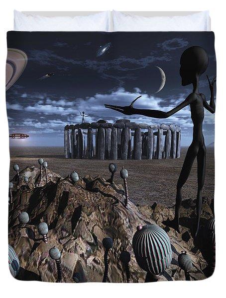 Alien Explorers On An Alien World Duvet Cover by Mark Stevenson