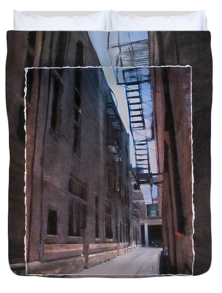Alley With Fire Escape Layered Duvet Cover by Anita Burgermeister