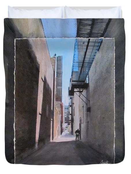 Alley With Guy Reading Layered Duvet Cover by Anita Burgermeister