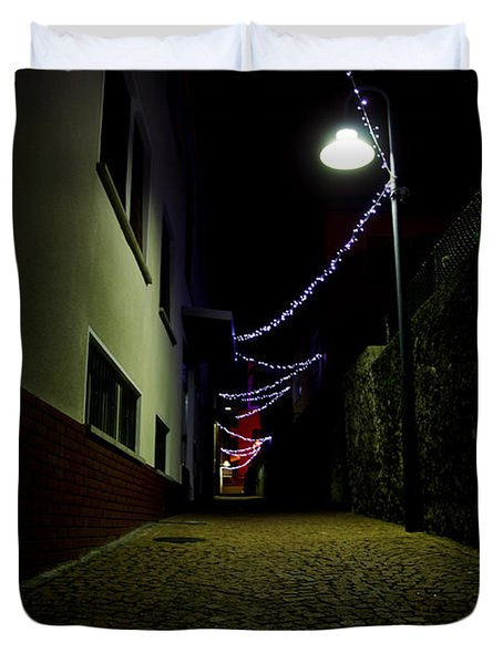 Alley With Lights Duvet Cover