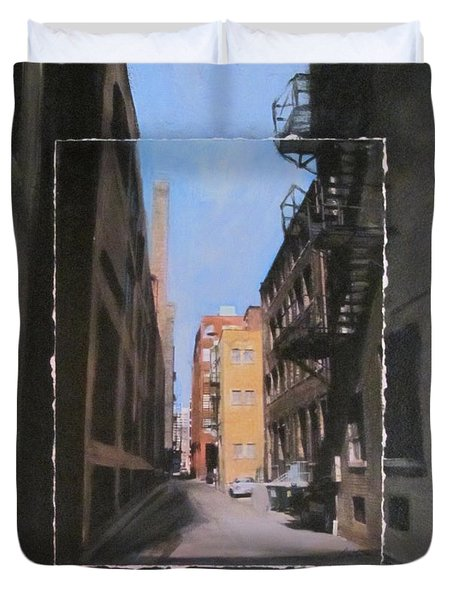 Alley With Red And Tan Buildings Layered Duvet Cover by Anita Burgermeister