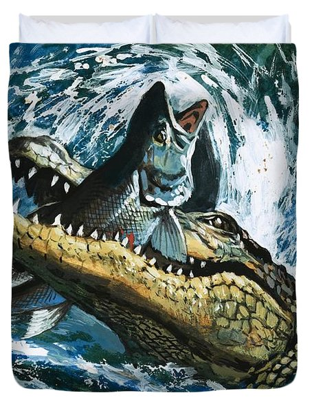 Alligator Eating Fish Duvet Cover by English School