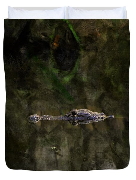 Duvet Cover featuring the photograph Alligator In Swamp by Dan Friend