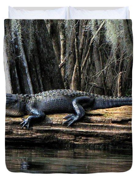 Alligator Sunning Duvet Cover