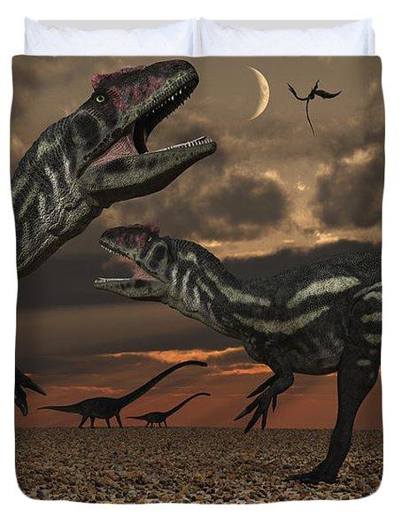 Allosaurus Dinosaurs Stalk Their Next Duvet Cover by Mark Stevenson