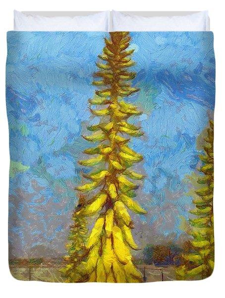 Aloe Vera Flowers Duvet Cover