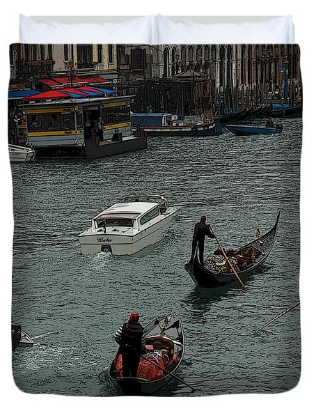 Duvet Cover featuring the photograph Along The Canal by Vivian Christopher