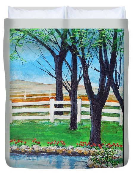 Duvet Cover featuring the painting Along The Lane by Dan Whittemore