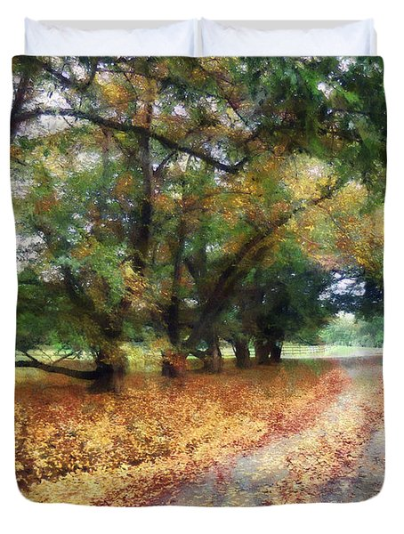 Along The Path Under The Trees Duvet Cover by Susan Savad