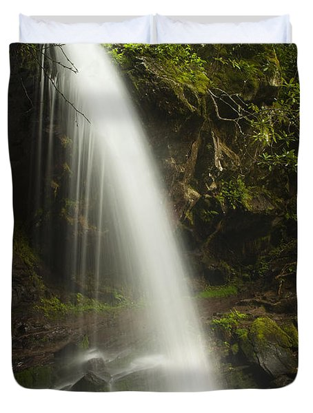 Alongside Grotto Falls Duvet Cover