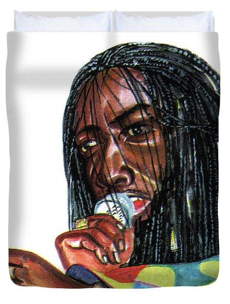Alpha Blondy Duvet Cover by Emmanuel Baliyanga