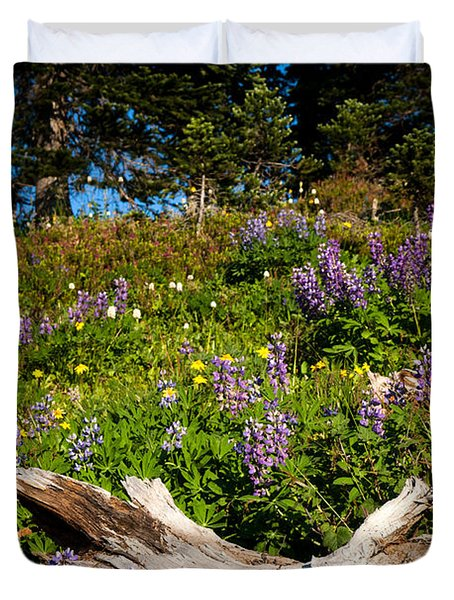 Duvet Cover featuring the photograph Alpine Wildflower Meadow by Karen Lee Ensley