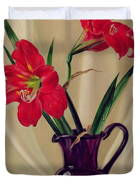 Amaryllis Lillies In A Dark Glass Jug Duvet Cover by Albert Williams