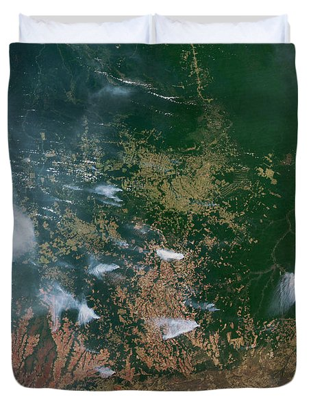 Amazon Basin Forest Fires, Satellite Duvet Cover by NASA / Science Source
