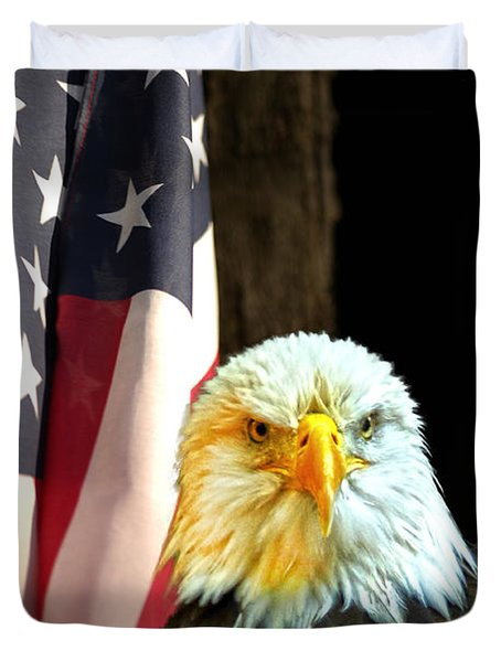 Duvet Cover featuring the photograph American Eagle And American Flag by Randall Branham
