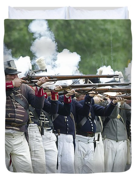 Duvet Cover featuring the photograph American Firing Line by JT Lewis