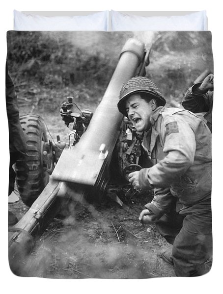 American Howitzers Shell German Forces Duvet Cover by Stocktrek Images