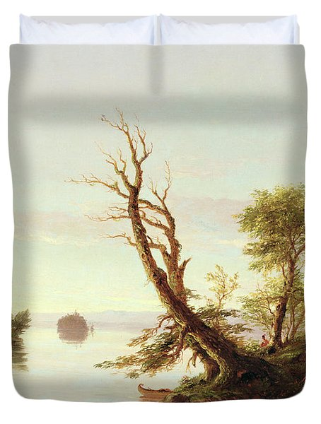 American Lake Scene Duvet Cover by Thomas Cole