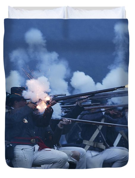 Duvet Cover featuring the photograph American Night Battle by JT Lewis