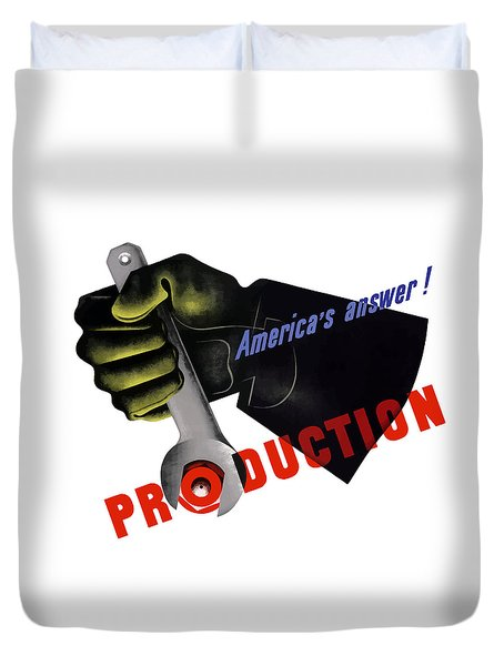 America's Answer -- Production  Duvet Cover by War Is Hell Store