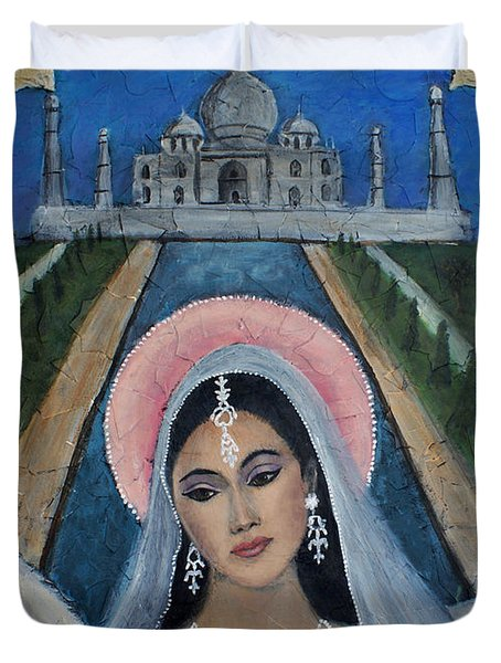 Amishi An Earth Angel Representing A Young Bride On Her Wedding Day Duvet Cover by The Art With A Heart By Charlotte Phillips