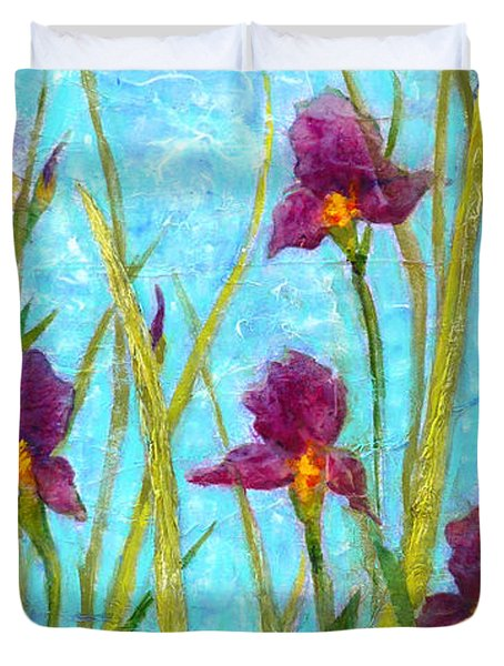 Among The Wild Irises Duvet Cover by Carla Parris