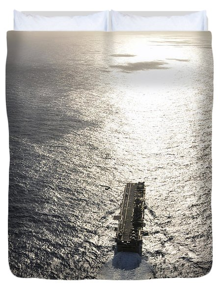 Amphibious Assault Ship Uss Boxer Duvet Cover by Stocktrek Images