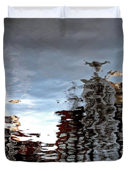 Duvet Cover featuring the photograph Amsterdam Reflections by Andy Prendy