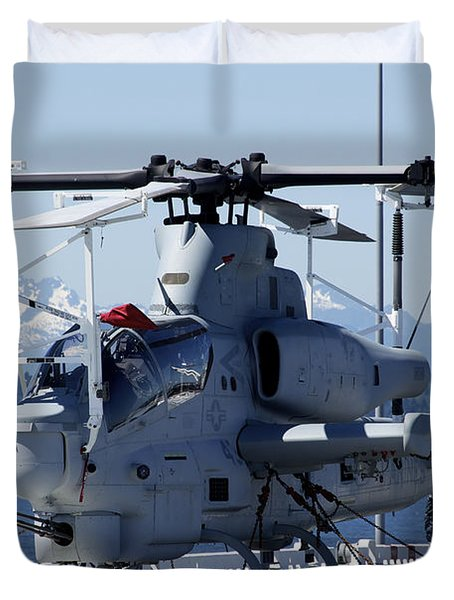 An Ah-1w Cobra Is Chained To The Flight Duvet Cover by Stocktrek Images