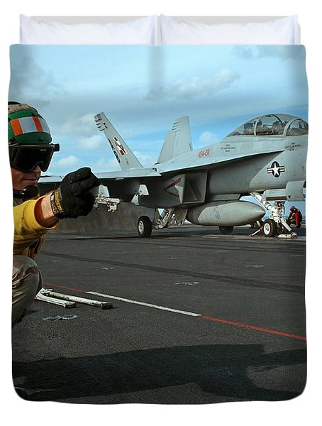 An Airman Gives The Signal To Launch An Duvet Cover by Stocktrek Images