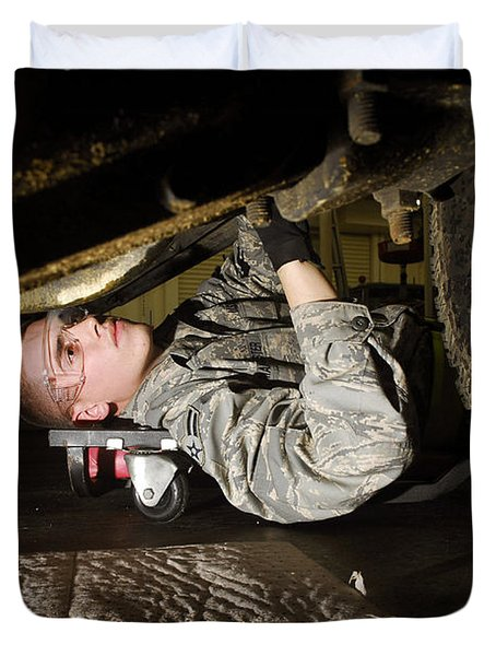 An Airman Inspects The Undercarriage Duvet Cover by Stocktrek Images
