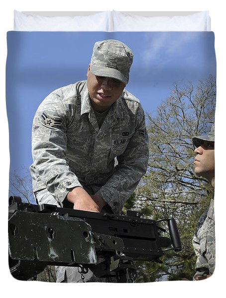 An Airman Instructs A Cadet On How Duvet Cover by Stocktrek Images