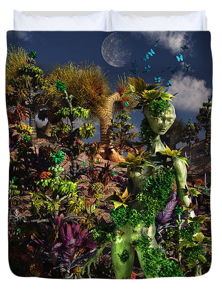 An Alien Being Blending Duvet Cover by Mark Stevenson