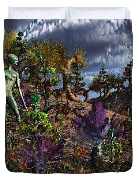An Alien Being Surveys The Colorful Duvet Cover by Mark Stevenson