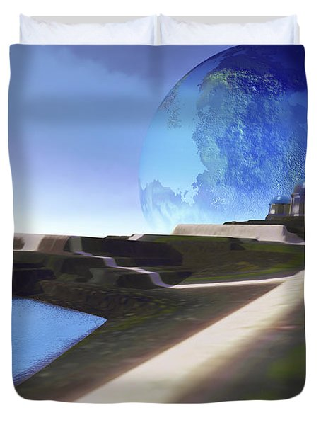 An Alien World With Strange Duvet Cover by Corey Ford