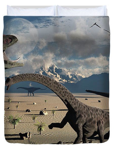 An Allosaurus Confronts A Small Group Duvet Cover by Mark Stevenson