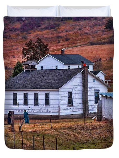 An Amish Farm Duvet Cover by Tommy Anderson