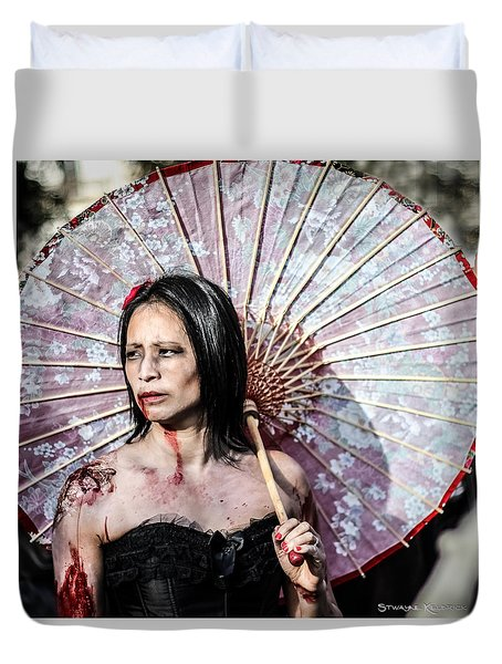Duvet Cover featuring the photograph An Asian Zombie by Stwayne Keubrick