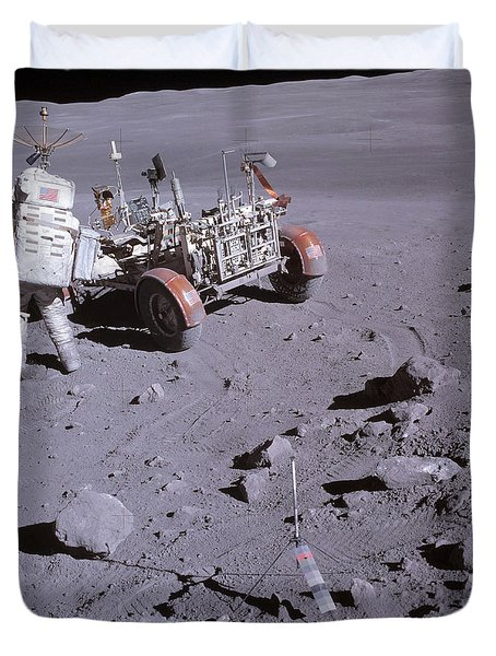 An Astronaut And A Lunar Roving Vehicle Duvet Cover by Stocktrek Images
