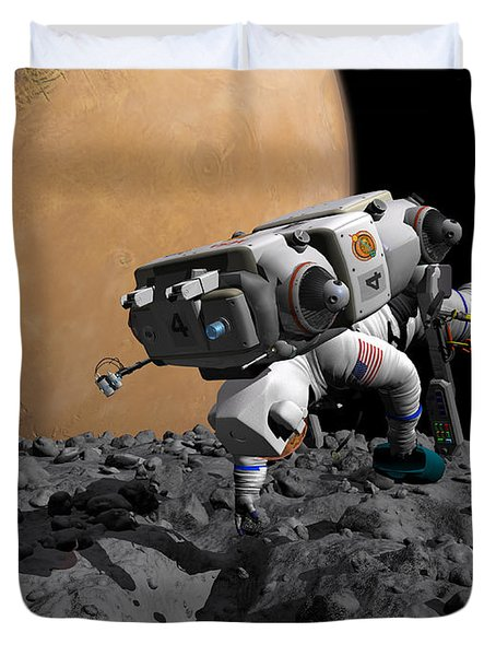 An Astronaut Makes First Human Contact Duvet Cover by Walter Myers