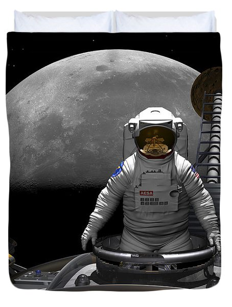 An Astronaut Takes A Last Look At Earth Duvet Cover by Walter Myers